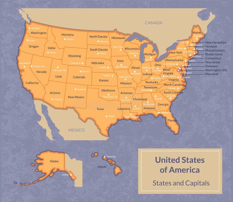 Kaart van de V.S. met staten en hun kapitalen vector illustratie