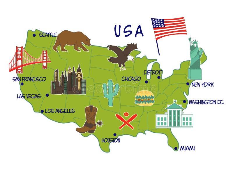 Kaart van de V.S. met typische eigenschappen royalty-vrije stock afbeeldingen