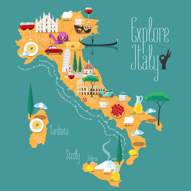 Kaart van de vectorillustratie van Italië, ontwerp Pictogrammen met Italiaanse oriëntatiepunten stock illustratie