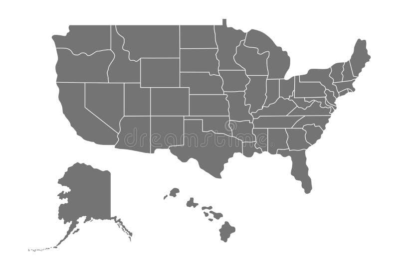 Kaart van de Verenigde Staten van Amerika de V.S. vector illustratie