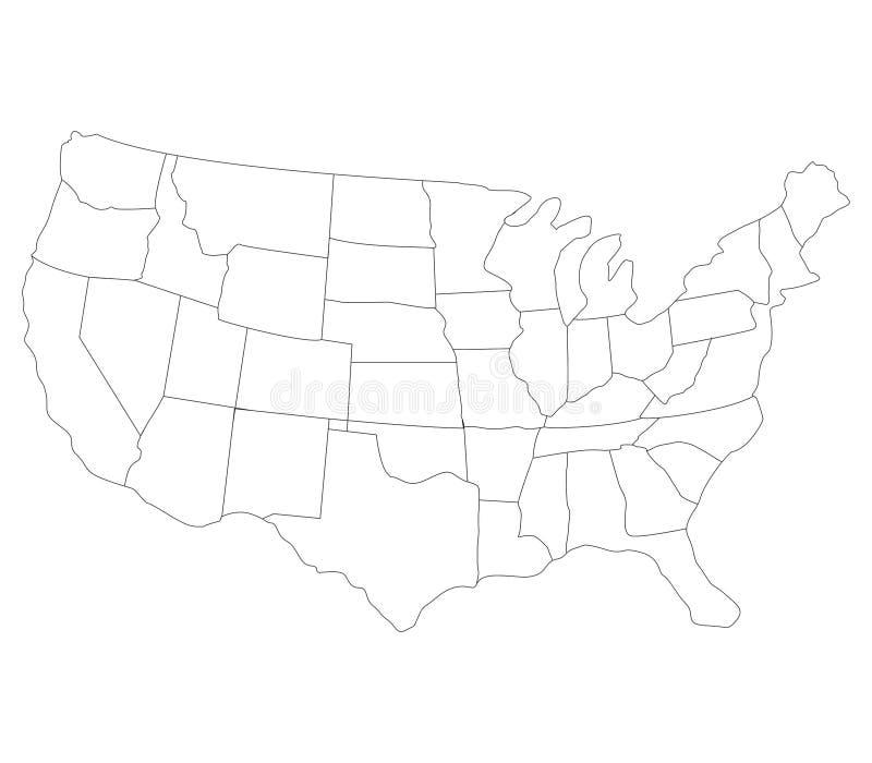 Kaart van de Verenigde Staten met vlag worden geïllustreerd die stock afbeelding