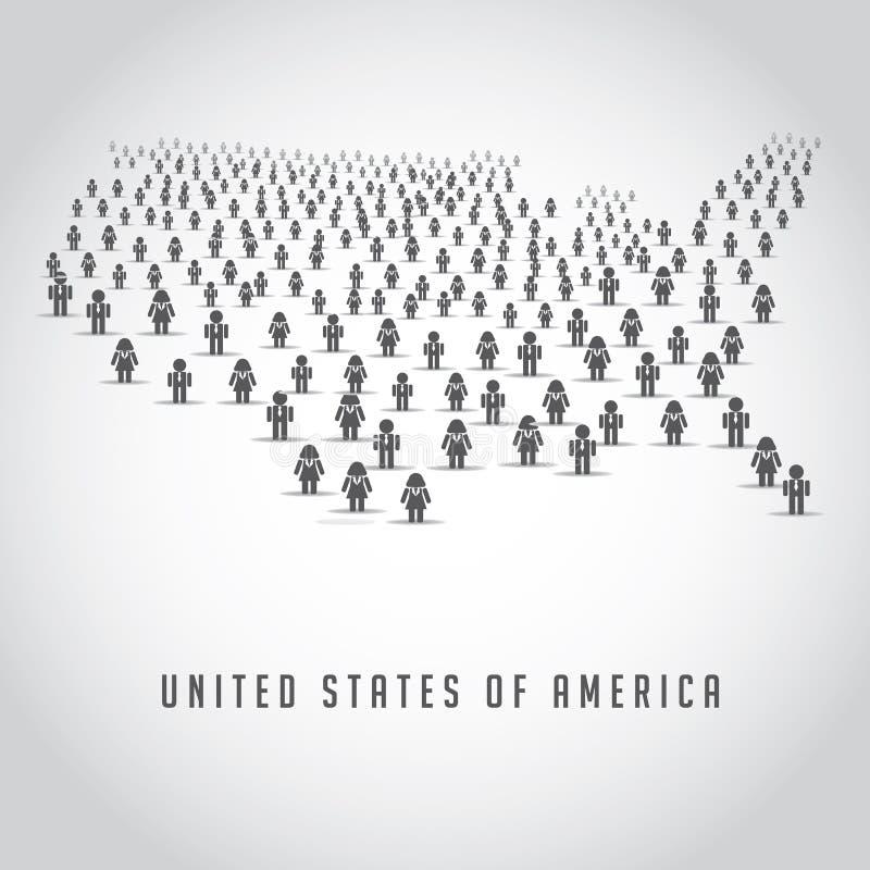 Kaart van de Verenigde Staten uit een menigte van mensenpictogrammen dat worden samengesteld royalty-vrije illustratie