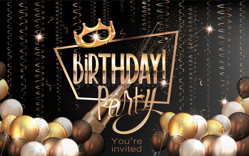 Kaart van de verjaardags de elegante groet met luchtballons, kronkelige, gouden kader en kroon royalty-vrije illustratie