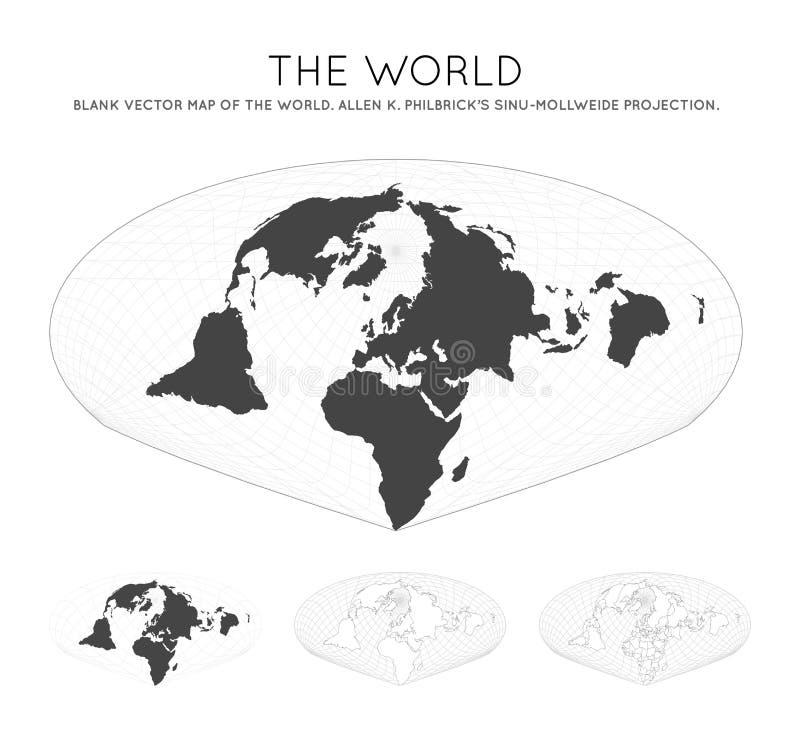 Kaart van de wereld Allen K Philbrick royalty-vrije illustratie