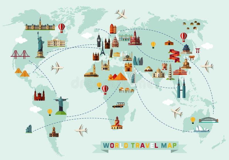 Kaart van de Wereld en Reispictogrammen royalty-vrije illustratie