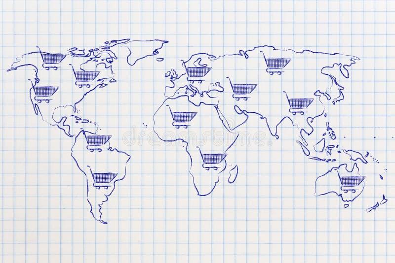 Kaart van de wereld met boodschappenwagentje overal, globale marketing stock afbeeldingen