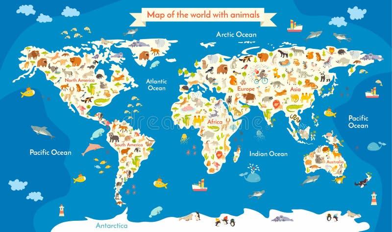 kaart van de wereld met dieren Mooie kleurrijke vectorillustratie met de inschrijving van de oceanen en de continenten stock afbeelding