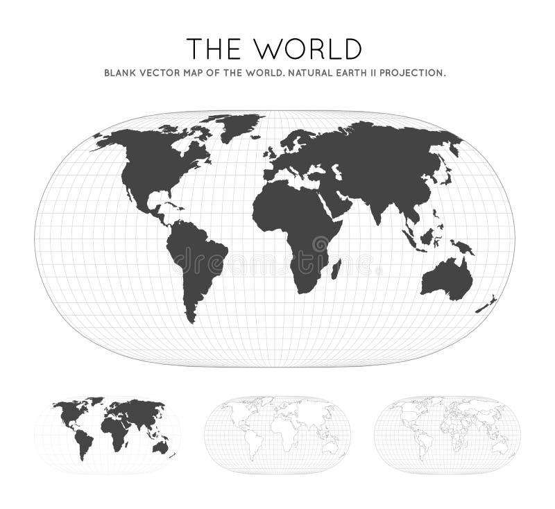 Kaart van de wereld Natuurlijke Aarde II projectie stock illustratie