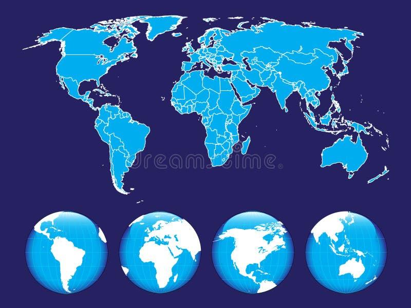 Kaart van de wereld op de abstracte achtergrond vector illustratie