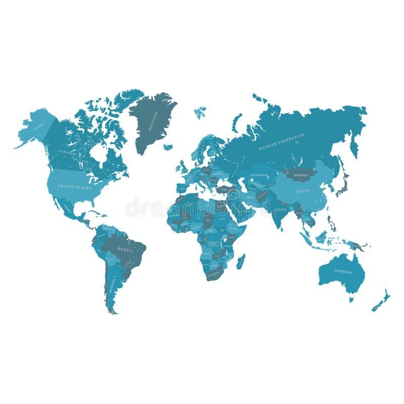Kaart van de wereld Vector hand getrokken illustratie stock illustratie