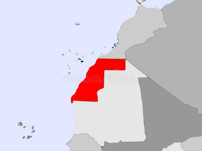 Kaart van de westelijke Sahara stock illustratie