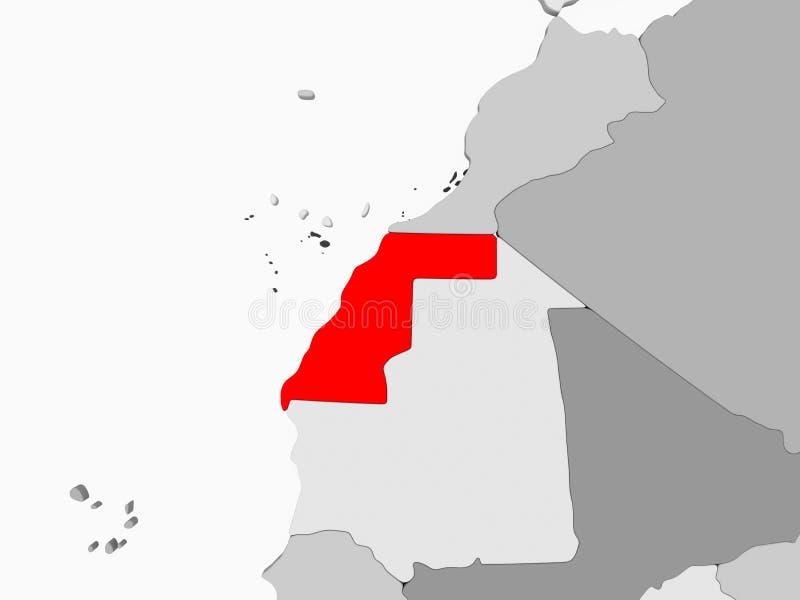 Kaart van de westelijke Sahara royalty-vrije illustratie