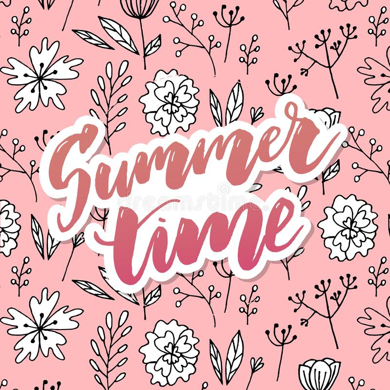Kaart van de de zomer dankt de Uitstekende Bloemengroet met Bloeiende Hydrangea hortensia en tuinbloemen, u botanische natuurlijk vector illustratie