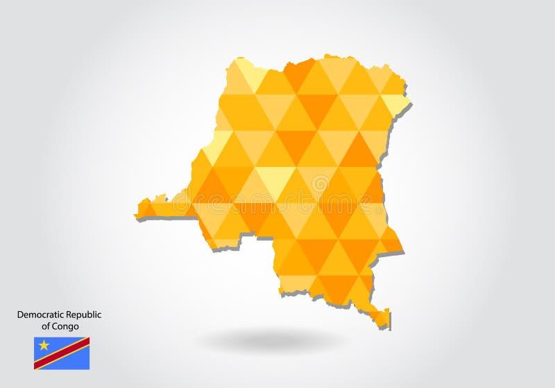 Kaart van Democratische Republiek de Kongo royalty-vrije illustratie
