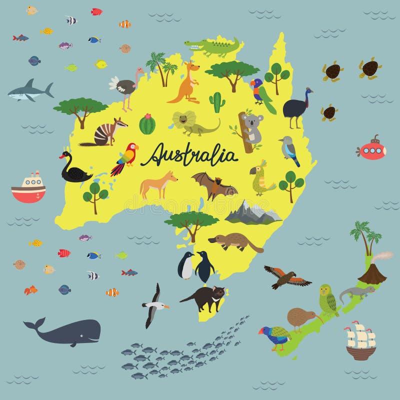 Kaart van Dierenrijk van Australië en Nieuw Zeeland vector illustratie