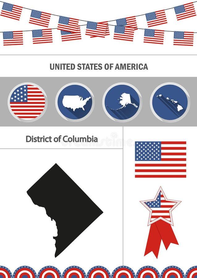 Kaart van District van Colombia Reeks vlakke nfographic ontwerppictogrammen stock illustratie