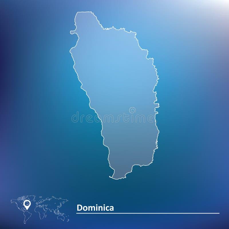 Kaart van Dominica royalty-vrije illustratie
