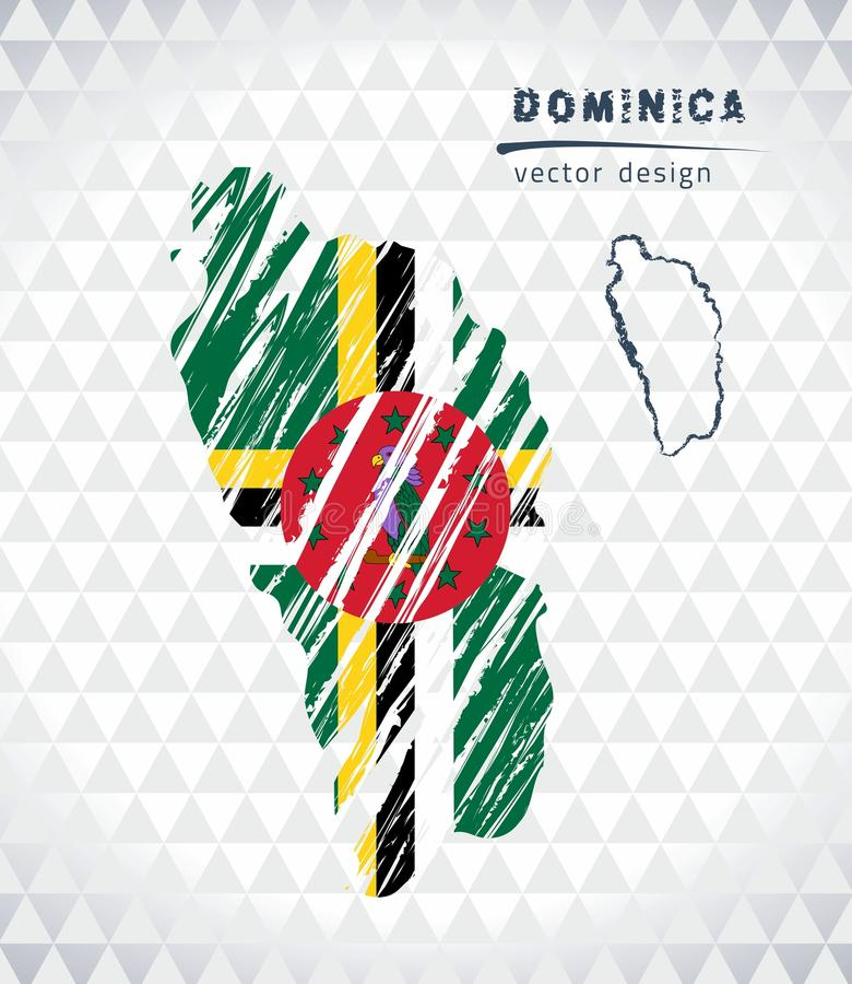 Kaart van Dominica met de hand getrokken binnen kaart van de schetspen Vector illustratie vector illustratie