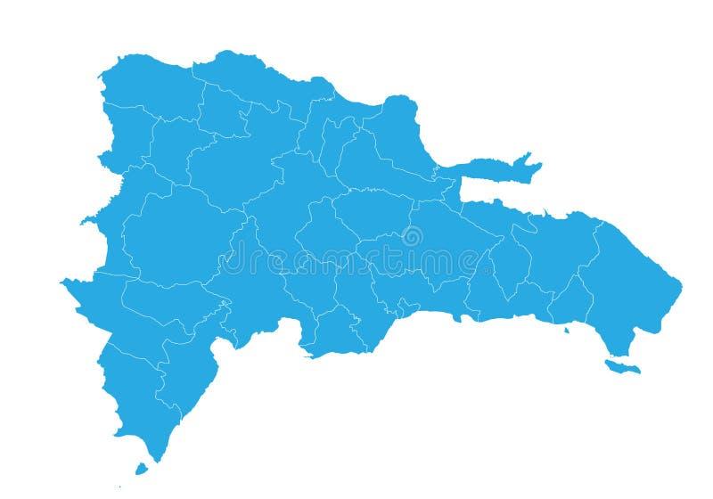 Kaart van Dominicaanse republiek Hoog gedetailleerde vectorkaart - Dominicaanse Republiek vector illustratie