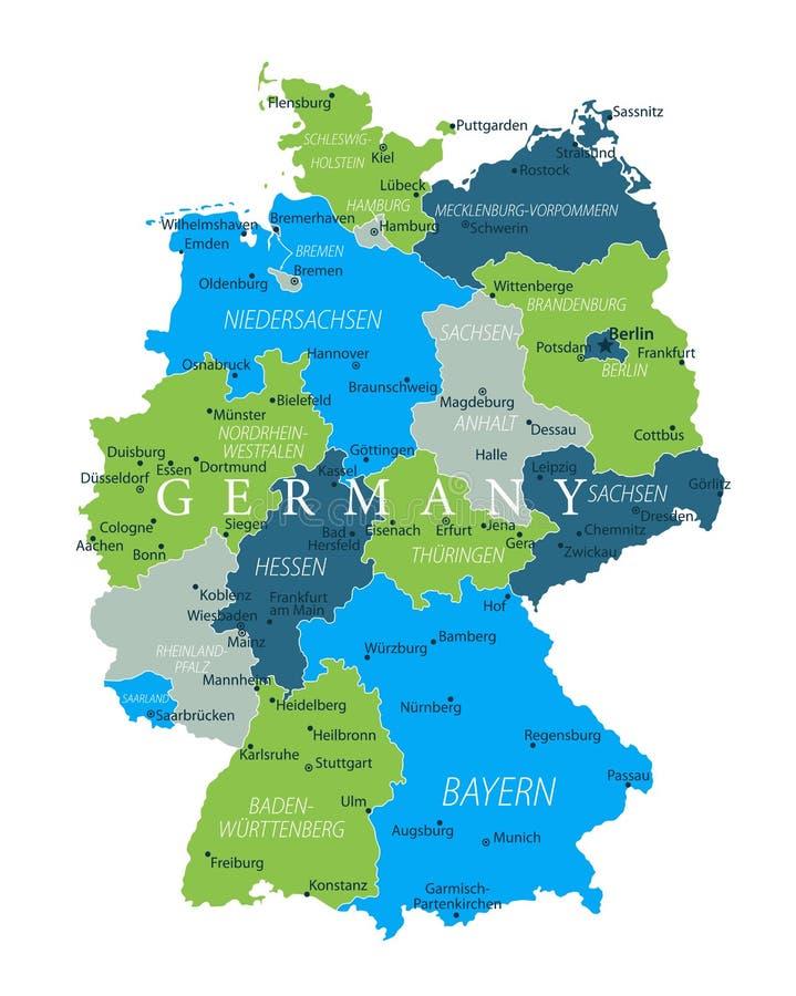 Kaart van Duitsland - Blauwgroen Gray Isolated op Wit - detailleerde hoogst vectorillustratie stock illustratie