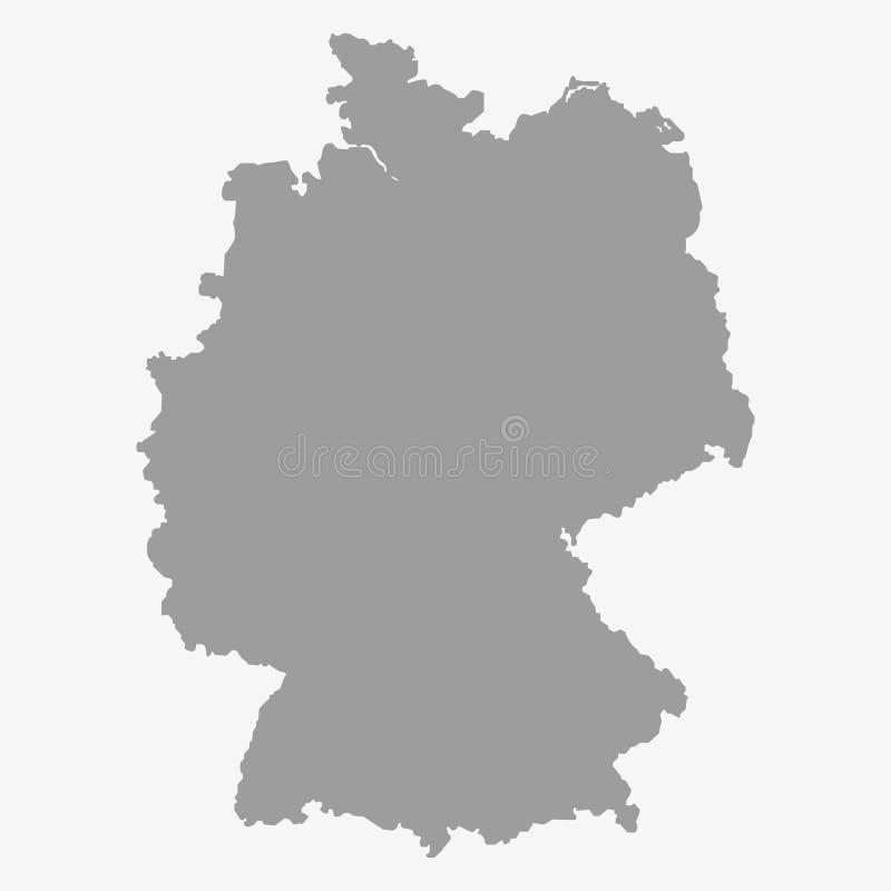 Kaart van Duitsland in grijs op een witte achtergrond royalty-vrije illustratie