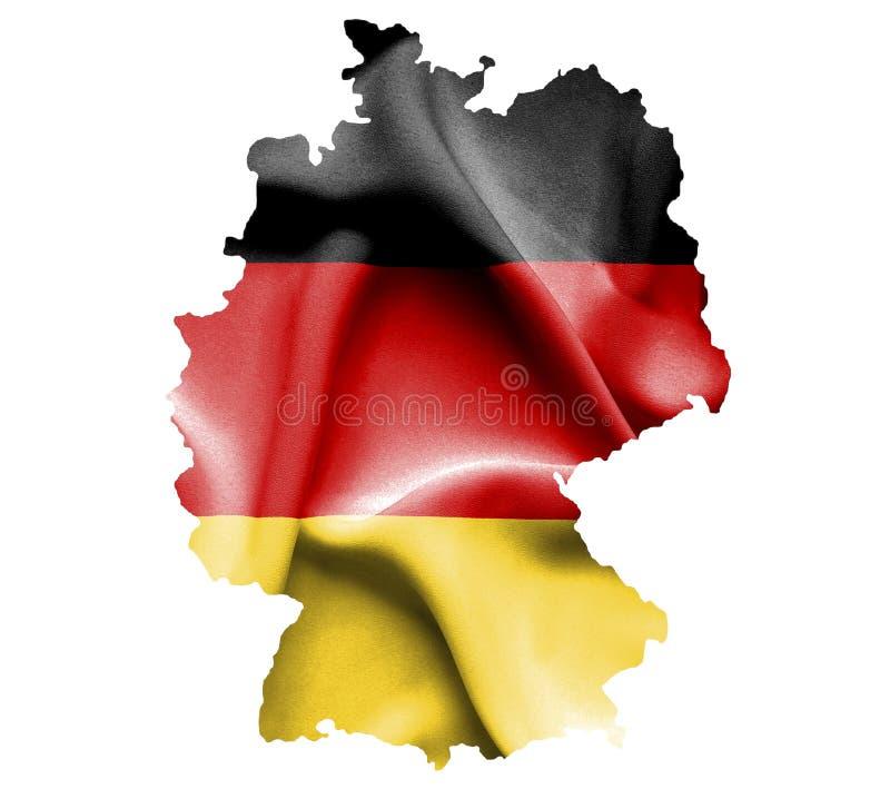 Kaart van Duitsland met golvende vlag dat op wit wordt geïsoleerd vector illustratie
