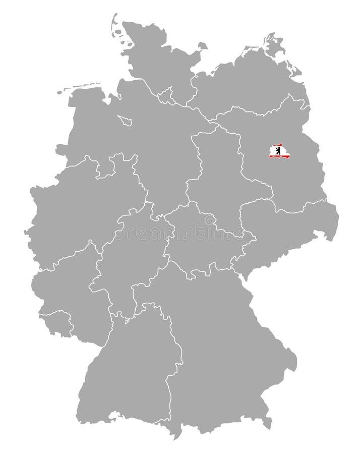 Kaart van Duitsland met vlag van Berlijn royalty-vrije illustratie