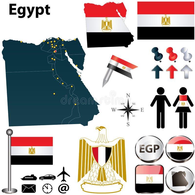 Kaart van Egypte stock illustratie