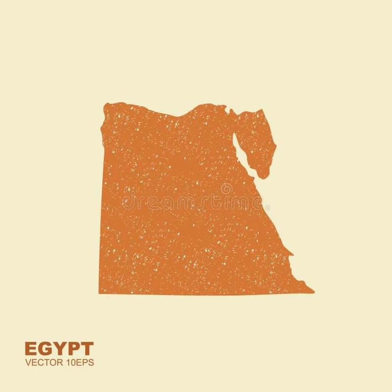 Kaart van Egypte in vlakke stijl met geschaafd effect stock illustratie