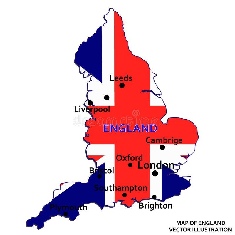 Kaart van Engeland Vector stock illustratie