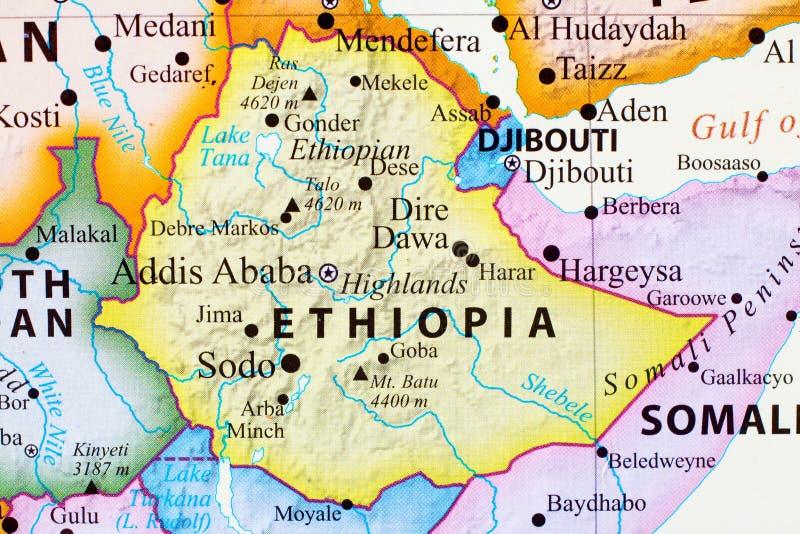 Kaart van Ethiopië vector illustratie