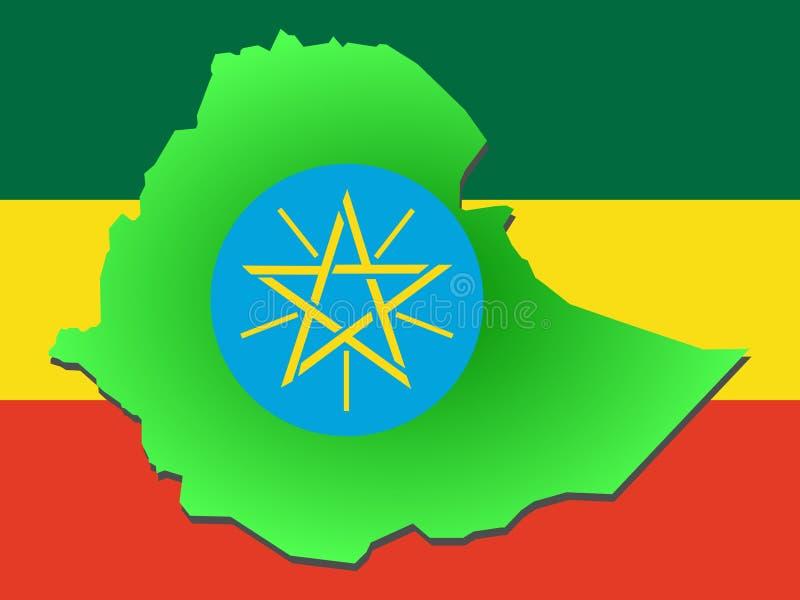 Kaart van Ethiopië stock illustratie