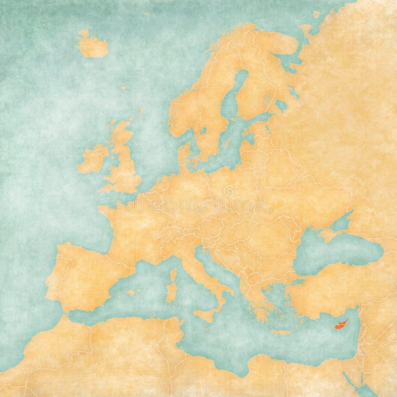 Kaart van Europa - Cyprus stock illustratie