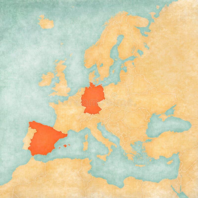 Kaart van Europa - Duitsland en Spanje royalty-vrije illustratie