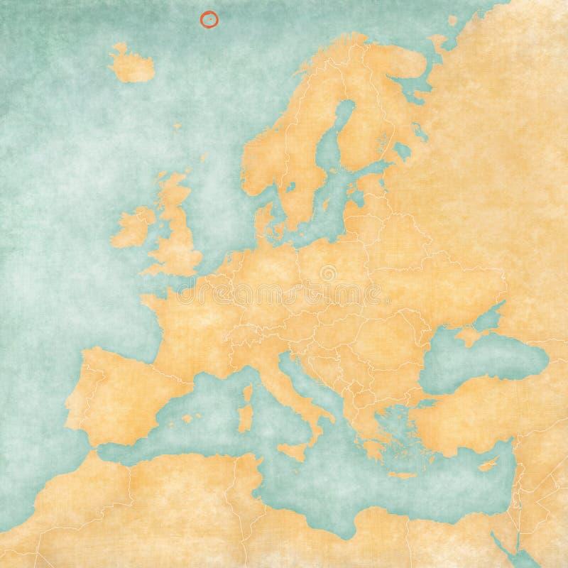 Kaart van Europa - Jan Mayen royalty-vrije illustratie