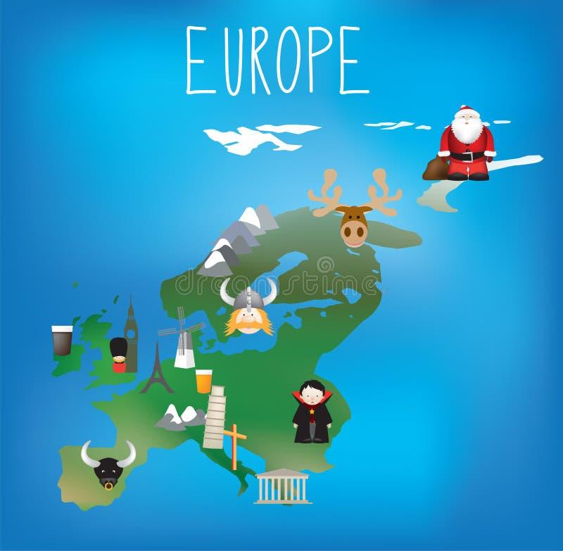 Kaart van Europa met leuke kind vriendschappelijke pictogrammen vector illustratie