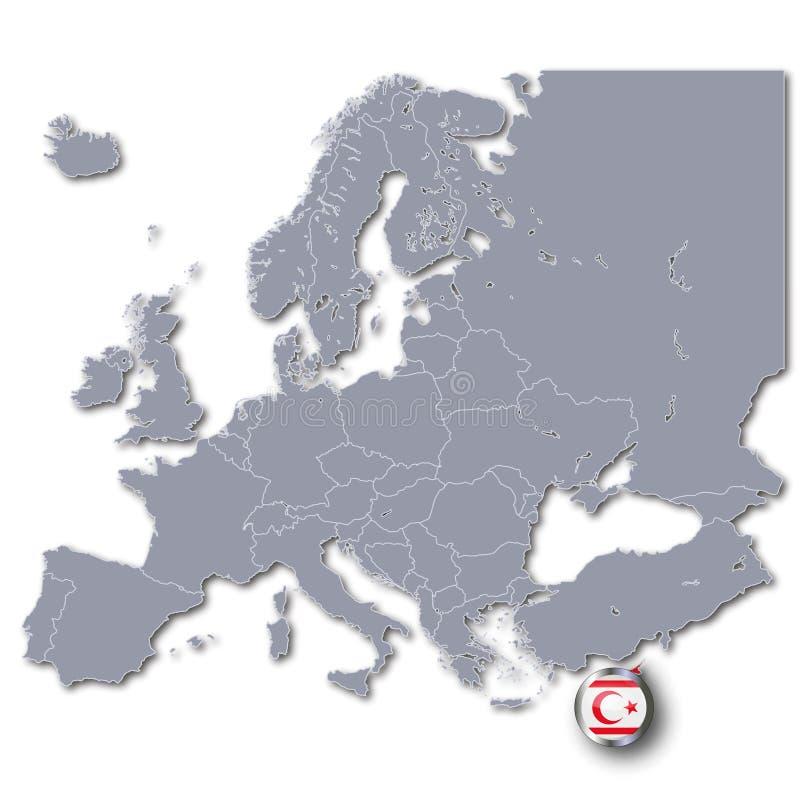 Kaart van Europa met Republiek Noordelijk Cyprus vector illustratie