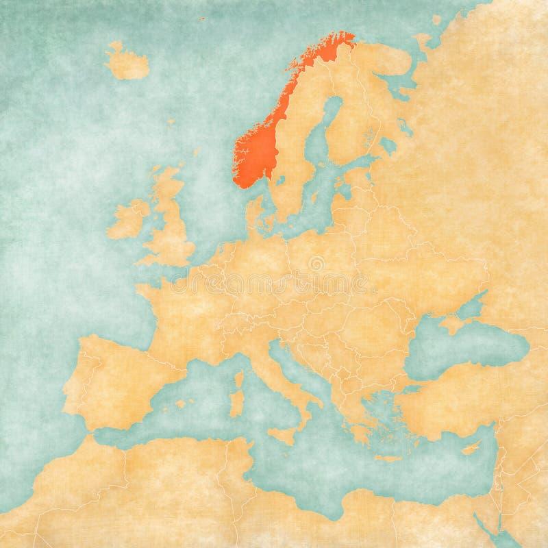 Kaart van Europa - Noorwegen vector illustratie