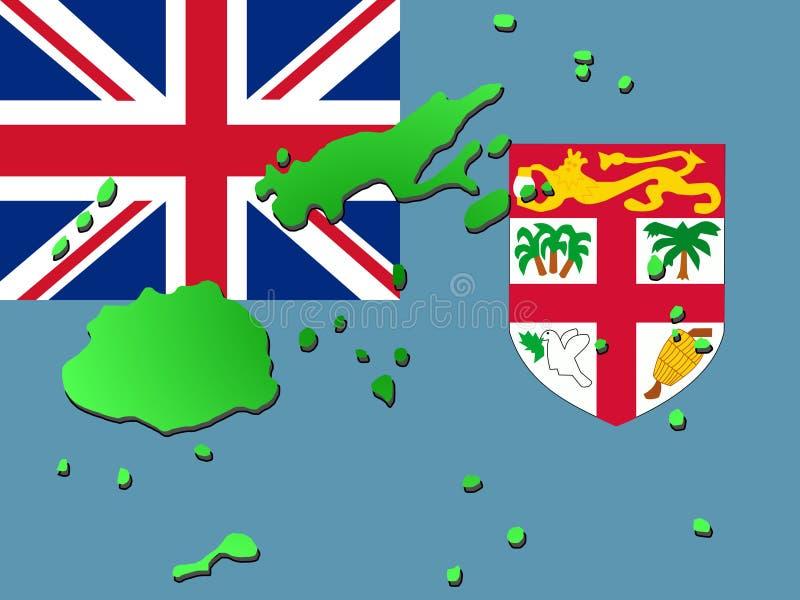 Kaart van Fiji met vlag vector illustratie
