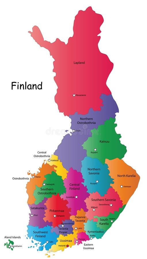 Kaart van Finland royalty-vrije illustratie