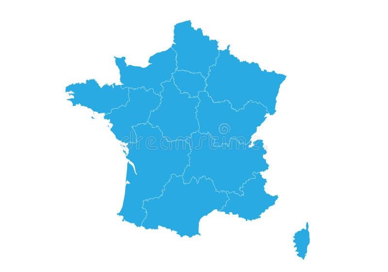 Kaart van Frankrijk Hoog gedetailleerde vectorkaart - Frankrijk stock illustratie