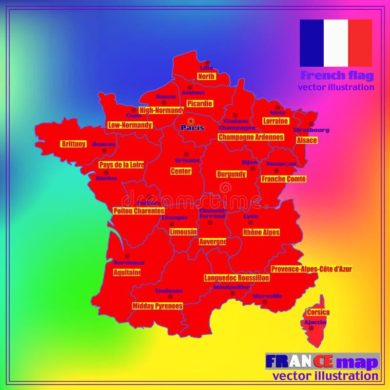 Kaart van Frankrijk met Franse gebieden Vector royalty-vrije illustratie