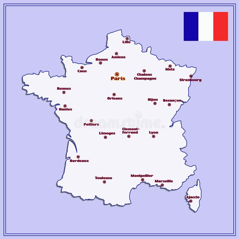 Kaart van Frankrijk met grote steden royalty-vrije illustratie