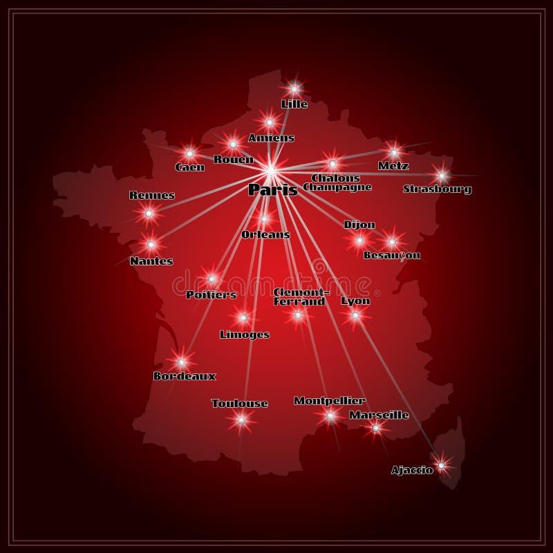 Kaart van Frankrijk met grote steden in nacht royalty-vrije illustratie