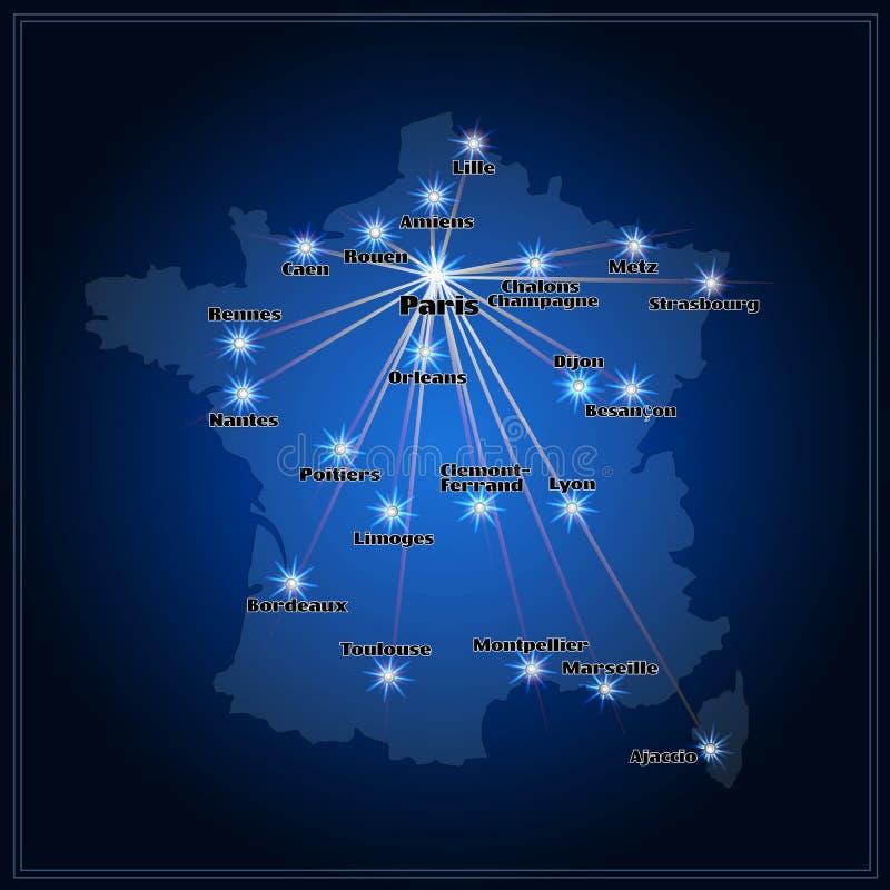 Kaart van Frankrijk met grote steden in nacht vector illustratie
