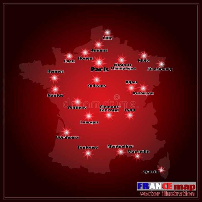 Kaart van Frankrijk met grote steden in nacht Vector vector illustratie