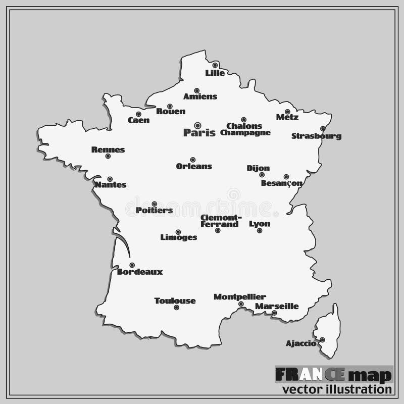 Kaart van Frankrijk met grote steden Vector royalty-vrije illustratie