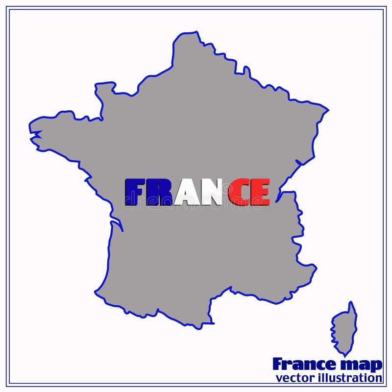 Kaart van Frankrijk Vector illustratie royalty-vrije illustratie