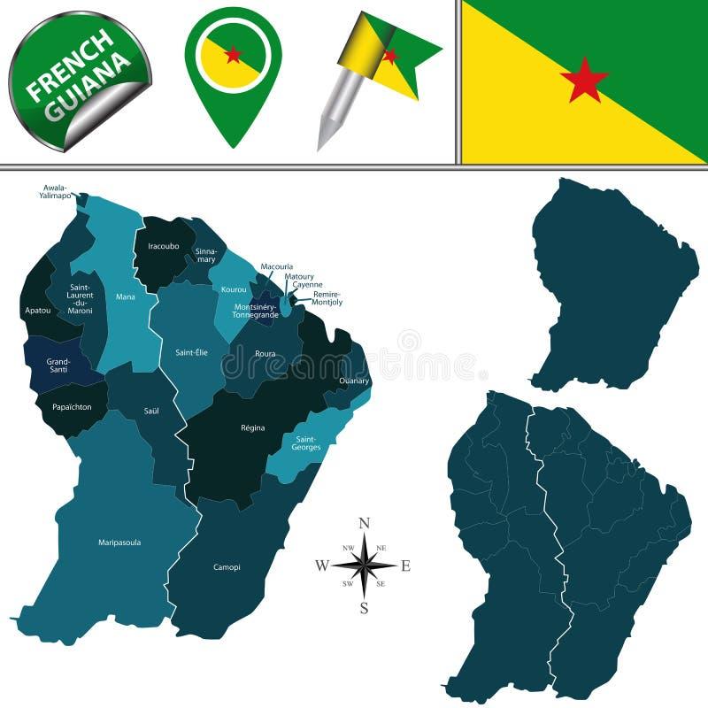 Kaart van Frans-Guyana met genoemde communes royalty-vrije illustratie