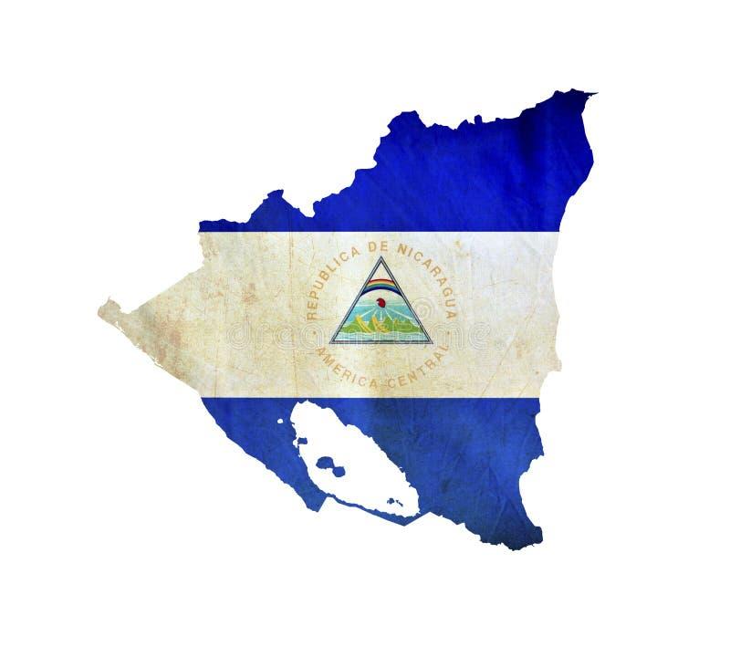 Kaart van geïsoleerd Nicaragua stock afbeelding